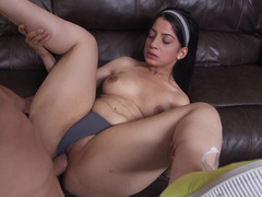 Hot maid sits on a cock after she is done cleaning the room
