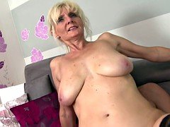 Super mom with huge saggy tits takes young ramrod