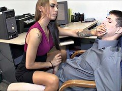 Deluxe secretary gives hot female domination handjob