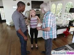 Non-professional teen Alina West bangs with a black lad