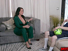 Super MILF Reagan Foxx gives her athlete stepson a hot melon fuck and insane dick ride and they both liked it until orgasm.