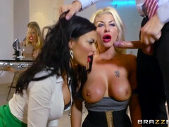 Jasmine Jae & Leigh Darby & Rebecca Moore and Tia Layne share one cock