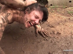 Nude mud wrestling and anal sex punishment outdoors