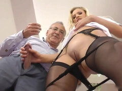 Blonde in black stockings enjoys anal fuck with mature guy