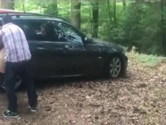 Fat bbw mom with big ass gets screwed outdoors in the forest