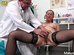 fur covered milf Valentina Ross old pussy exam by freaky doc