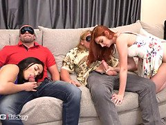 Bored wifes Sheena Ryder and Lacy Lennon swap hubbies
