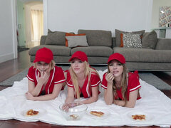 Baseball babes Dixie Lynn, Lola Leda and Athena May take turns bouncing on prick