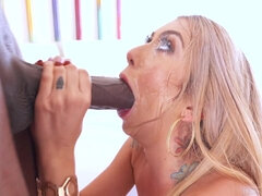 Brutal interracial deepthroat and hard fuck with blonde MILF cougar