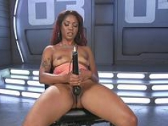 Ebony squirting on getting down and dirty machine