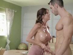 Busty brunette milf seduced and banged by her son's friend