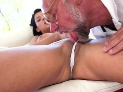 Old man eats out and bangs young brunette's pussy