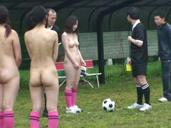Naked soccer game turns into POV titwanking and sensual handjob