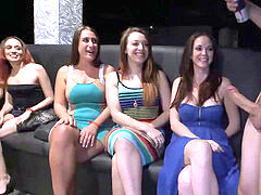 CFNM Party girls deep-throat and bang masculine strippers