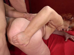 Granny gets fucked and her old cunt loves his young dick