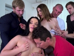 Randy group of bisex lads have blowjob group intercourse