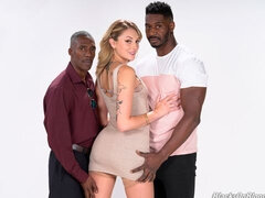 White babe Charlotte Sins dominated by two giant black dicks