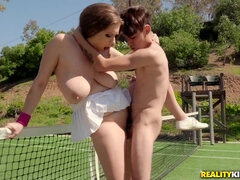 Big boobed brunette Alex Chance is pleasuring hardcore fuck on tennis court