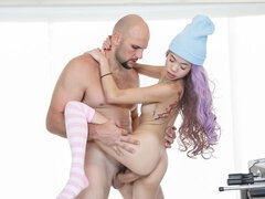 Beautiful purple-haired Asian teen Vina Sky and a big cock