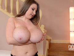 Busty Miss Lusty - Stripping In The Stairway