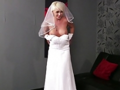 Big-breasted British bride face covered in spunk Point of view