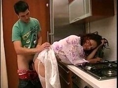 Glamorous Russian Mother In Stockings Kitchen Fucked..