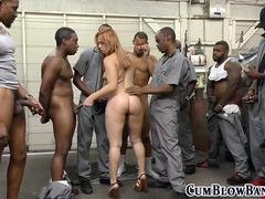 Redhead babe is down to suck many black dicks right away
