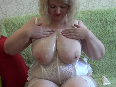 Ugly Mature with Big Saggy Tits Fucks his Hairy Twat with a Bottle