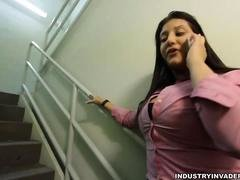 Sexy voluptuous latina giving great head to BBC on stairs