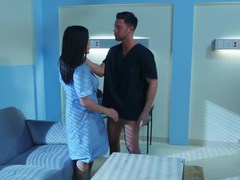 Cool janitor helps oriental nurse satisfy her nympho tendencies