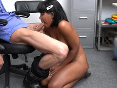 Black woman shoplifter Jenna Foxx pleasing officer in exchange for a freedom