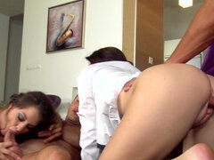 Two passionate couples are having sex
