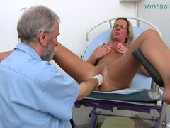 Blonde Bosomed MILF In Glasses Comes To Pervy Gino Doctor