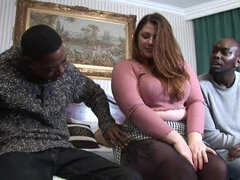 White BBW gets stuffed with couple of BBCs