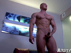 blinding inked army jock milks his ample cock real hard