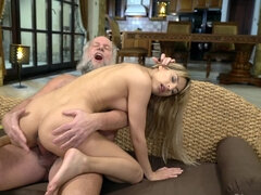 Very bad old man punishes younger girlfriend through sex with him