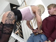 Bossy grand furthermorema spanks youthful boy and furthermore gets down and dirty him with strapon