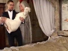Femdom bride pussy & foot dominating her groom in the bedroom