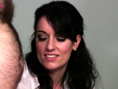 Office gals stroking dick during CFNM fetish