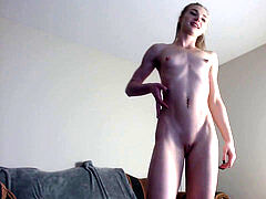 Skinny slim blond small tits rock-hard nips cameltoe cootchie