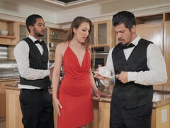 Unfaithful wife pleasuring waiter for a hot sticky load
