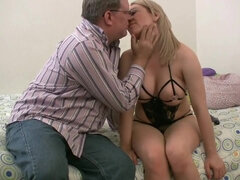 Kinky blonde in sexy lingerie seduces a stepdad