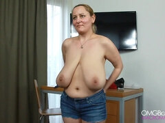 Extremely saggy boobs - bbw shaking her big naturals