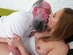 Mature corrupted dude forced young babe to quench him