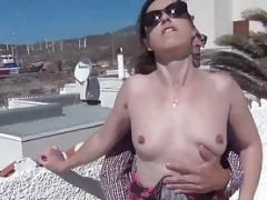 outdoor having an intercourse on the rooftop for the voyeurs with real