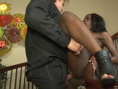 Ebony maid has to follow completely all the instruction of white dude