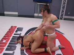 Wrestler fights busty Asian girl and brings strapon into play
