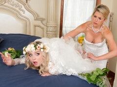 Blondies Lexi Lore and Kit Mercer are fucking in the bedroom