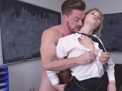 Blonde babe with big tits gets taken by a big white dick and cums