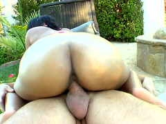 A black cutie pie is by the pool and she is getting her tight cunt fucked